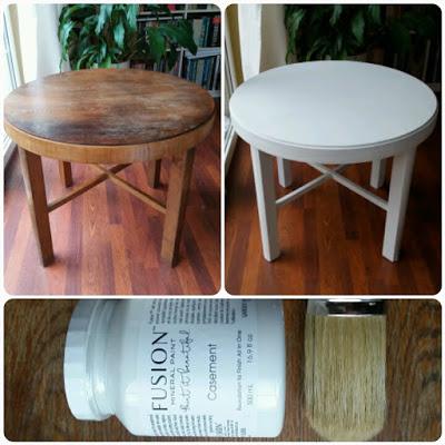 stoł przed i po malowaniu na biało